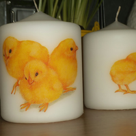Decorated candle Easter Spring chicks napkin decoupage Group of Baby Chicks