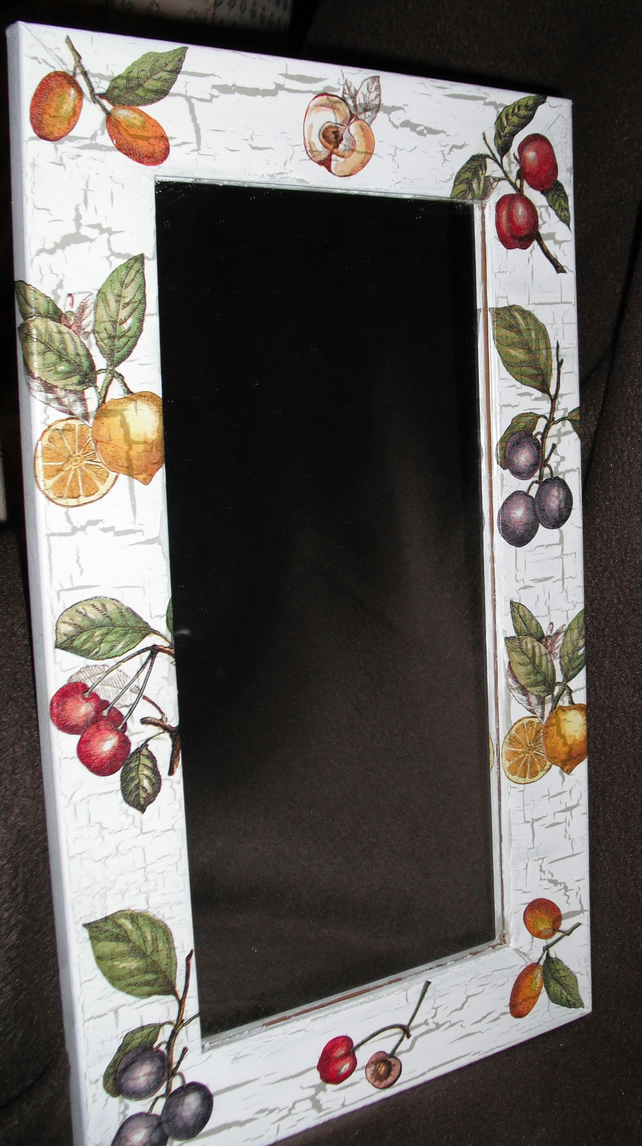 Decorated Mirror Unusual Fruit Shabby Chic Country Napkin Decoupage