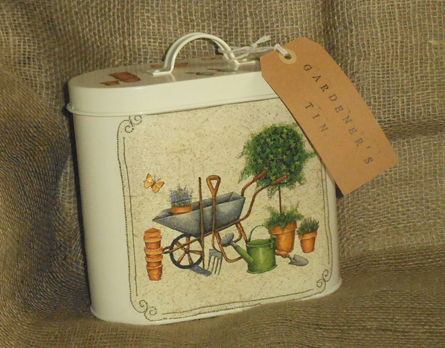 Decorated Gardener's Tin attractive storage for gardening twine labels seeds