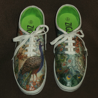 Decorated Shoes MADE TO ORDER Peacock Unique Summer Canvas Sizes UK 3 to 9