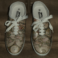 Decorated Shoes MADE TO ORDER Old World Map Unique Summer Canvas Sizes 3 to 9