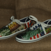 Decorated Shoes MADE TO ORDER New York Unique Summer Canvas Sizes UK3 to 9