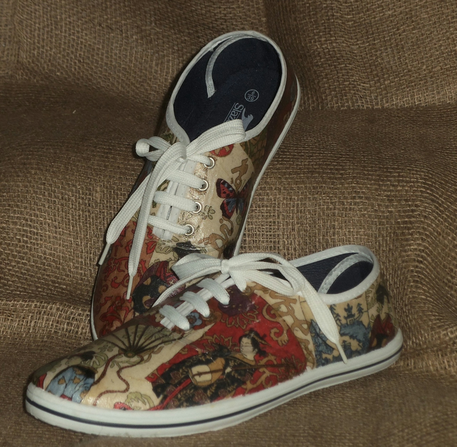 Decorated Shoes MADE TO ORDER Japan Unique Summer Canvas Sizes UK 3 to 9
