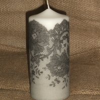 Decorated candle Black White Lace napkin decoupage Ladies Delicate Unusual