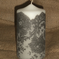 Decorated candle Black White Lace napkin decoupage Ladies Delicate Unusual 6""