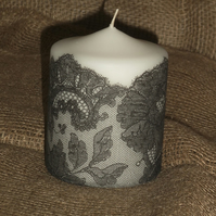 Decorated candle Black White Lace napkin decoupage Ladies Delicate Unusual 4""