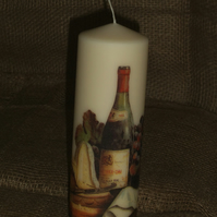 Decorated candle Wine Cheese Dinner napkin decoupage Unusual