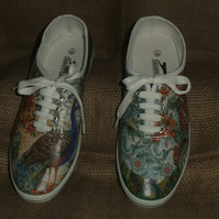 Decorated Canvas Shoes SIZE 7 Peacock Individual Unique Decoupage Unusual Gift
