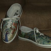 Decorated Canvas Shoes CHILDREN'S SIZE 13 Peacock Individual Unique Decoupage