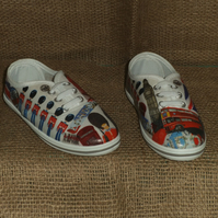 Decorated Canvas Shoes CHILDREN'S SIZE 9 London Great Britain Unique Decoupage