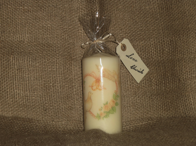 Decorated Candle Wedding Marriage Celebration Doves Rings decoupage Unusual