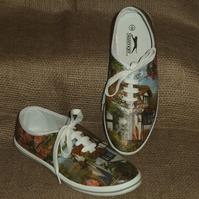 Decorated Canvas Shoes SIZE 5 (38) Country Cottage Individual Unique Decoupage