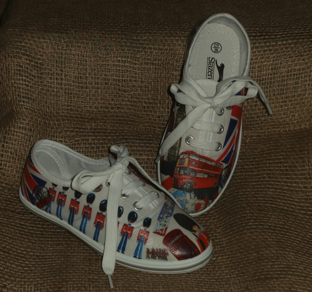 Decorated Canvas Shoes CHILDREN'S SIZE 11 London Great Britain Unique Decoupage