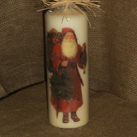 Decorated Candle Vintage Santa Father Christmas Decoupage Unusual