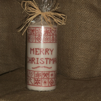 Decorated Candle Merry Christmas Cross Stitch Decoupage Unusual