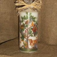 Decorated Candle 12 Days of Christmas Decoupage Unusual 18cms