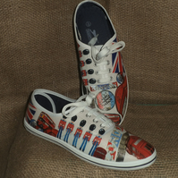 Decorated Shoes MADE TO ORDER London Unique Summer Canvas Sizes UK 3 to 9