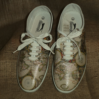 Decorated Canvas Shoes Old World Map SIZE 7 (40.5) Individual Unique Decoupage
