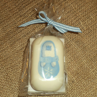 Attractive Unusual Decorated Soap Blue Baby Boy Shoe Shower Gift