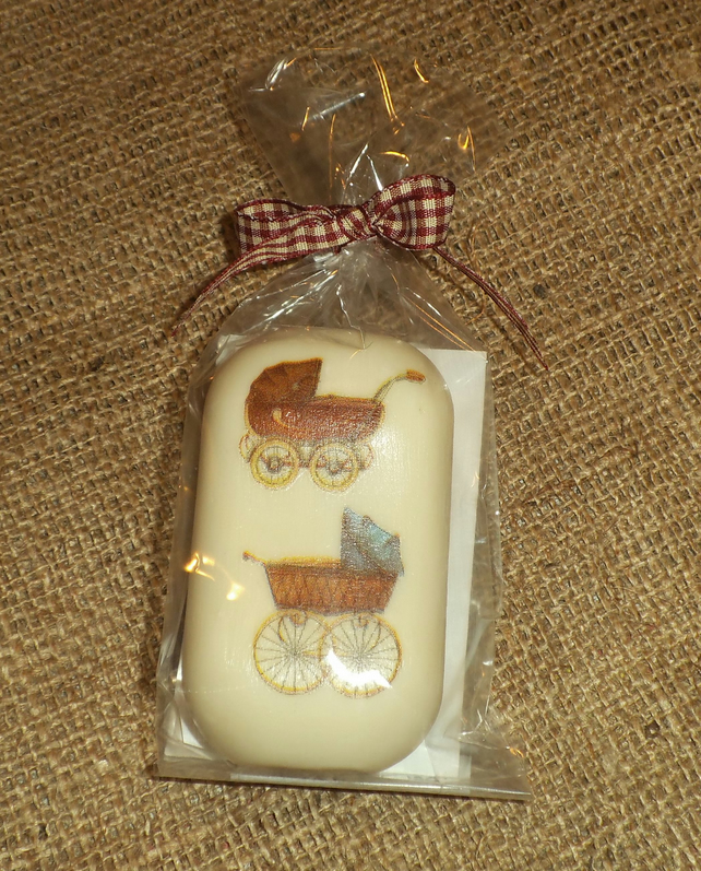 Attractive Unusual Decorated Baby Soap Vintage Prams Shower Gift