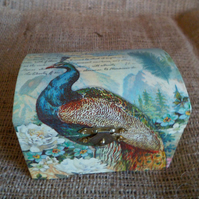 Peacock Trinket Jewellery Treasures Gift Wooden Small Chest Box Unusual