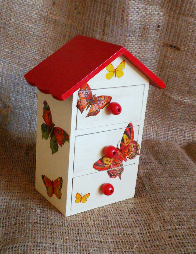 Mini Cabinet Butterfly House Trinket Jewellery Treasures Wooden Rustic Unusual
