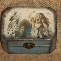 Alice In Wonderland Playing Cards Small Chest Box Wooden Unusual Vintage-look