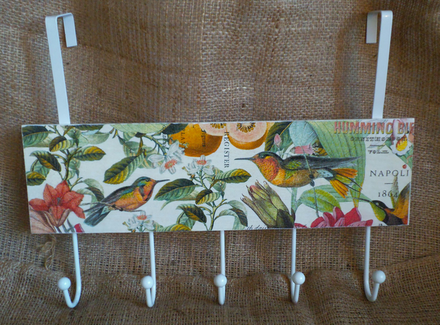 Over door Hanger Hooks Beautiful Hummingbirds Botanical Vintage-look Unusual
