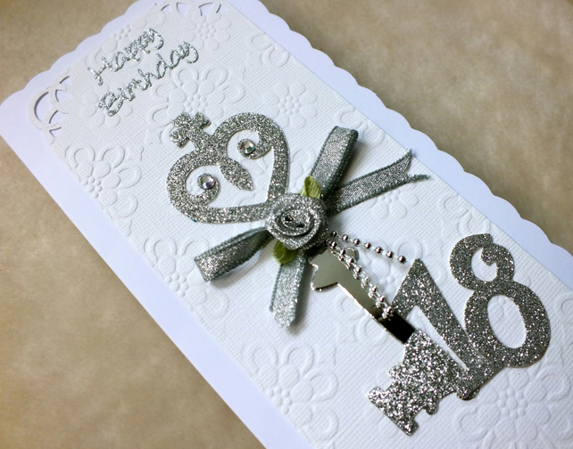 18th Birthday Key Luxury Handmade Card Folksy