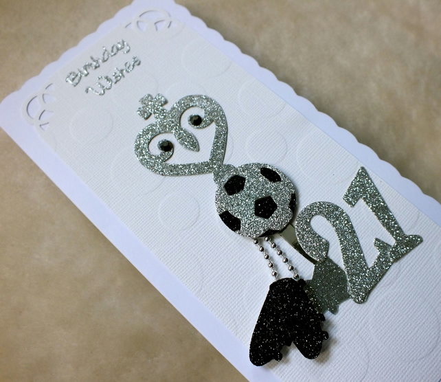 21st Birthday Key & Football Luxury Handmade Card
