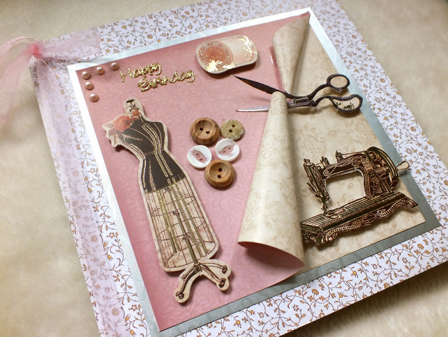 Luxury Handmade Sewing Theme Birthday Card Folksy – Handmade Luxury Birthday Cards