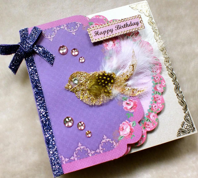 Luxury Handmade Happy Birthday Card Folksy