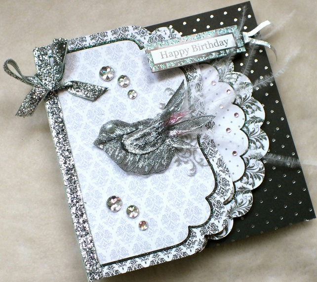 Luxury Handmade Monochrome Bird Birthday Card Folksy – Handmade Luxury Birthday Cards