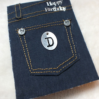 Personalised Handmade Jeans Birthday Card