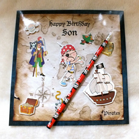 Son's Birthday Handmade Pirate Theme Card plus FREE PIRATE PENCIL