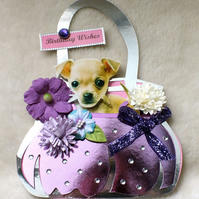 Handmade Cute Birthday Dog-Chihuahua Handbag Card