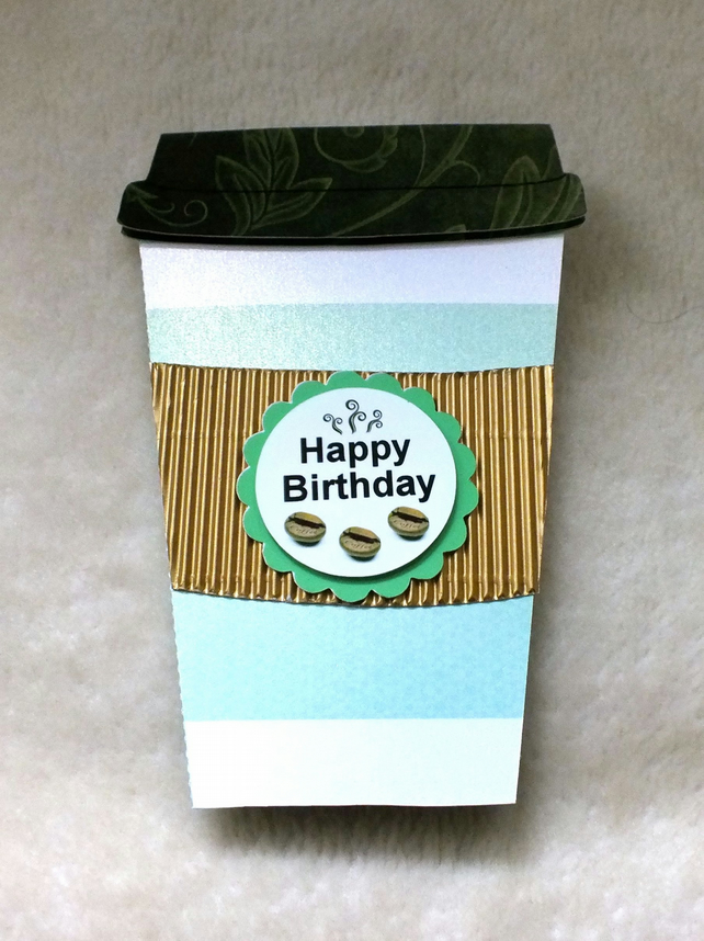 handmade coffee cup shaped birthday card  folksy, Birthday card