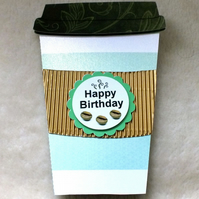 Handmade Coffee Cup Shaped Birthday Card