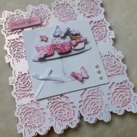 Exquisite Handmade Rose Filagree Thank You Cakes Card