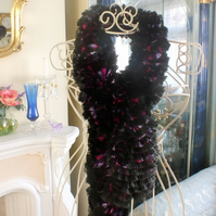 Sparkle Ruffle Scarf - Fuchsia Purple Black Mix