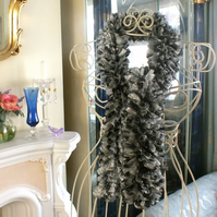 Sparkle Ruffle Scarf - Silver Black Mix