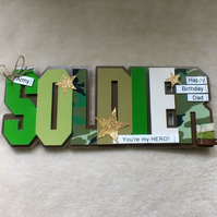 Luxury Handmade Dad Birthday Soldier Word Card