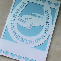 Handmade Personalised Pageboy Thank You Card