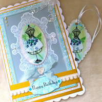 Luxury Handmade Bejewelled Fashion Birthday Card with free Gift Tag