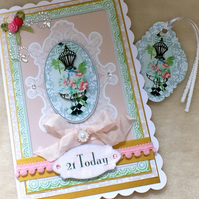 Luxury Handmade Bejewelled 21st Birthday Card with free Gift Tag