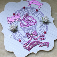 Special Niece Pretty Handmade Cupcake Birthday Card