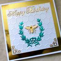Handmade 3D Sophisticated Birthday Bee Card