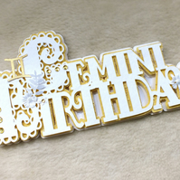 Luxury Handmade Zodiac Gemini Birthday Word Card