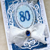 Luxury Handmade Pretty 80th Birthday Card