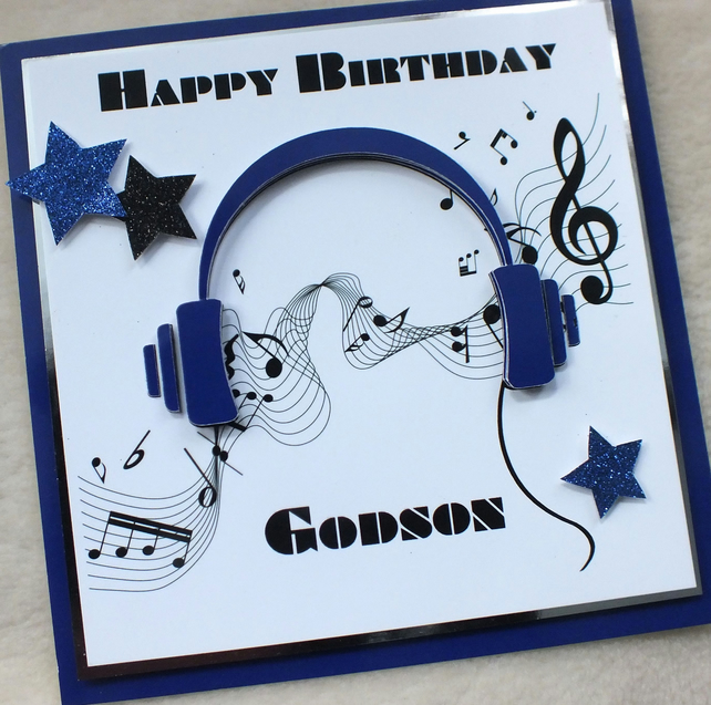 Handmade godson 3d music headphones birthday card folksy handmade godson 3d music headphones birthday card m4hsunfo